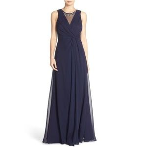 Eliza J Embellished Chiffon Fit & Flare Navy Gown